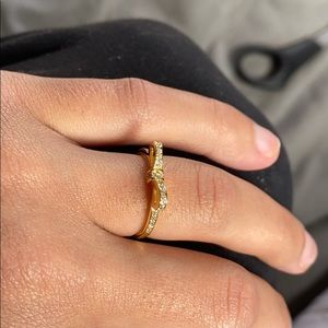💍CZ SS Silver Gold Plated Bow Ring💍